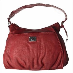 GRACE ADELE Red faux leather bag purse Spacious